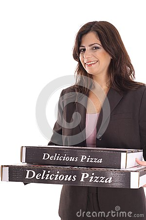 Woman in business suit carrying pizzas