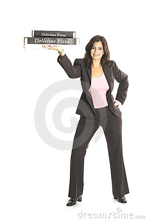 Woman in business suit holding pizzas