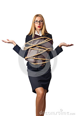Woman businessman tied up