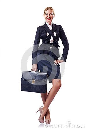 Woman businessman on white