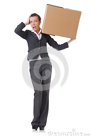 Woman businesswoman with boxes