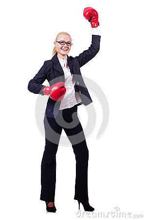 Woman businesswoman with boxing gloves