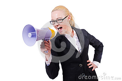 Woman businesswoman with loudspeaker