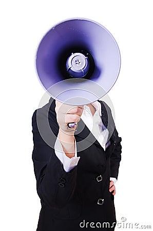 Woman businesswoman with loudspeaker