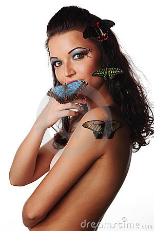 Woman and butterfly