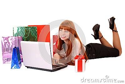Woman buy on-line