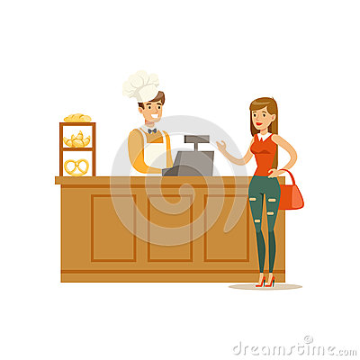 Free Woman Buying Pastry From The Baker In The Bakery Shop Ordering At The Counter Vector Illustration Stock Photo - 83594370