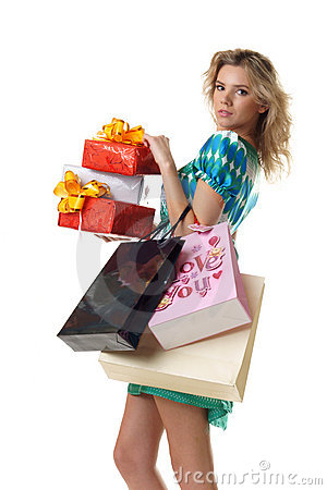 Woman buying presents