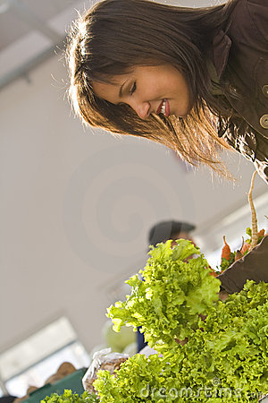 Woman buying salad