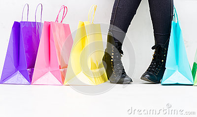 Woman buying shoes