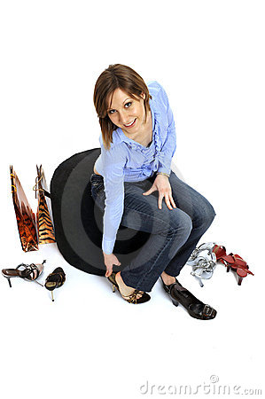 Free Woman Buying Shoes Royalty Free Stock Photos - 8814488