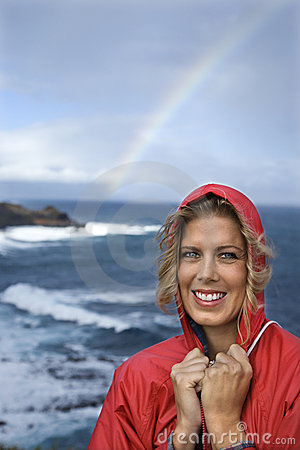 Free Woman By Ocean And Rainbow. Royalty Free Stock Images - 2037249