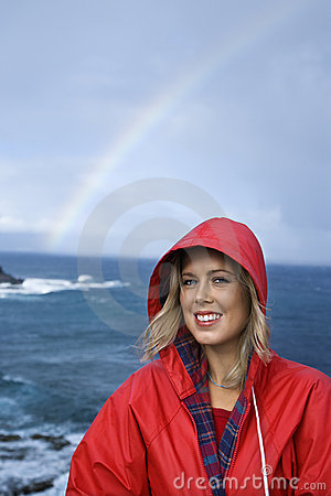 Free Woman By Ocean And Rainbow In Maui, Hawaii. Royalty Free Stock Images - 2044089