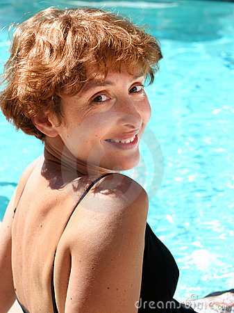 Free Woman By The Pool Stock Photography - 3086312