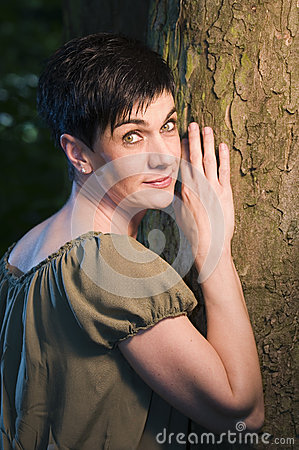 Free Woman By The Tree Royalty Free Stock Photography - 40990327