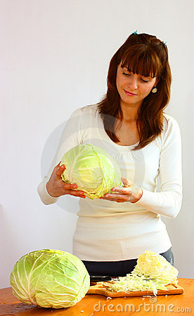 Woman and cabbage