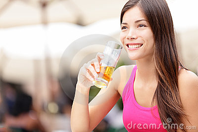 Woman on cafe drinking drink