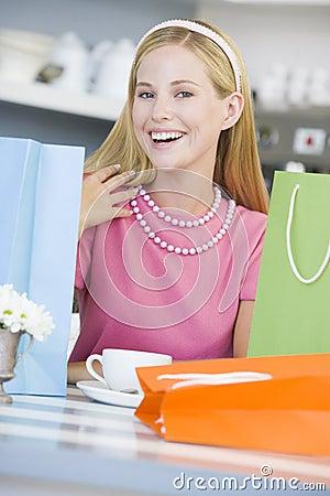 Woman in cafe taking break