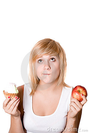 Woman with cake and apple