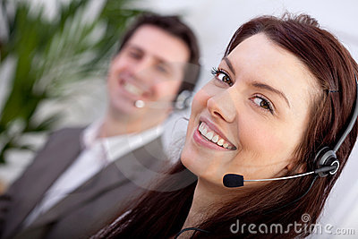 Woman in a call center