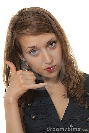 Woman Call Me Pose Stock Photo - Image: 20363410