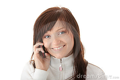 Woman is calling with a mobilephone