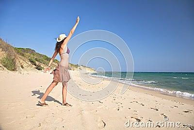 Woman calling ocean
