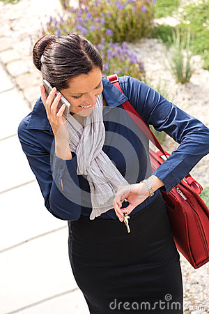 Free Woman Calling Rushing Arriving Home Business Phone Stock Image - 28709441
