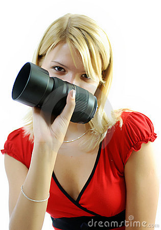 Woman with camera lens