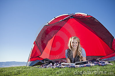 Woman Camping Outdoors