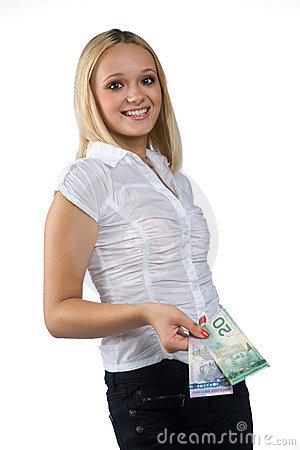 Woman with canadian dollar bills