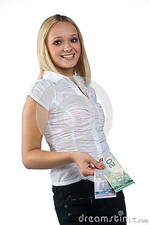 Woman with canadian dollar bills