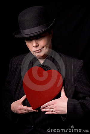 Woman with candy heart