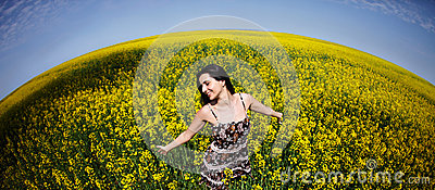 Woman in canola world