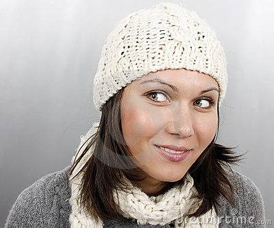 Woman in cap and scarf