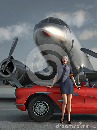 Woman, car, airplane