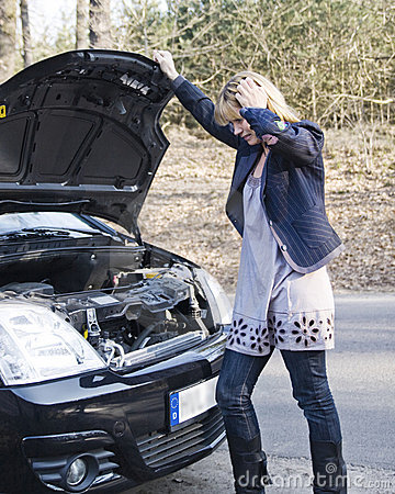 Woman car breakdown