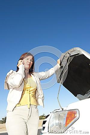 Woman car breakdown