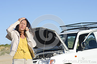 Woman car breakdown road assistance