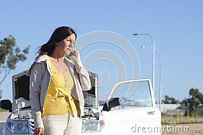 Woman car breakdown road assistance