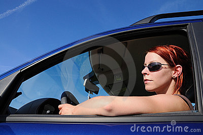 Woman, car, driving