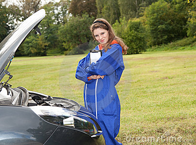 Woman car mechanic
