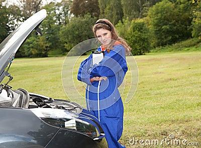 Woman car mechanic