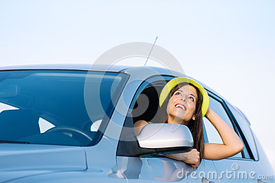 Woman on car travel vacation