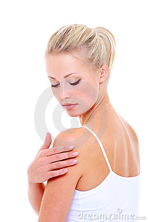 Free Woman Care Massaging Her Shoulder Stock Image - 11273311