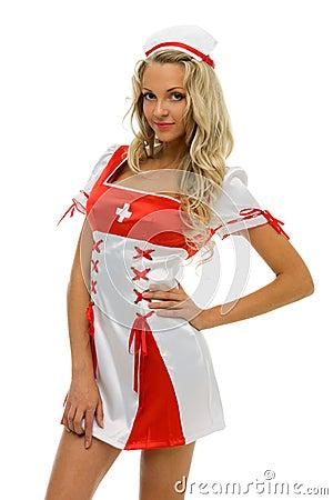 Woman in carnival costume. Nurse shape