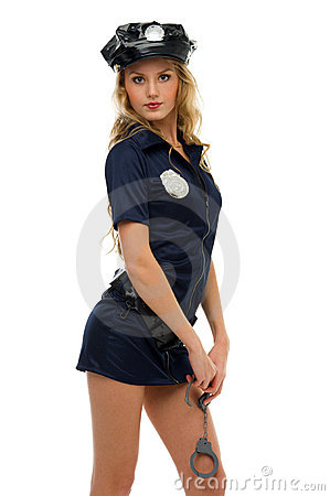Woman in carnival costume.  Police woman shape