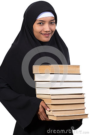 Woman carries a books