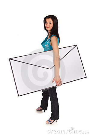 Woman carrying a big letter