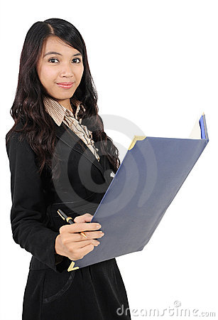 Woman carrying book and pen